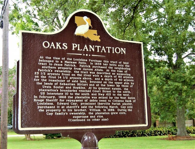 Oaks Plantation Marker